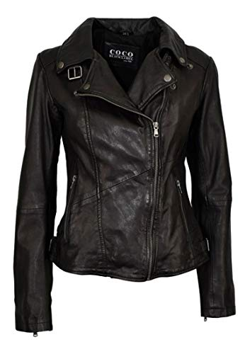 Damen Slim fit Lederjacke im Biker Style Kim, Farbe:Schwarz, Größe:40