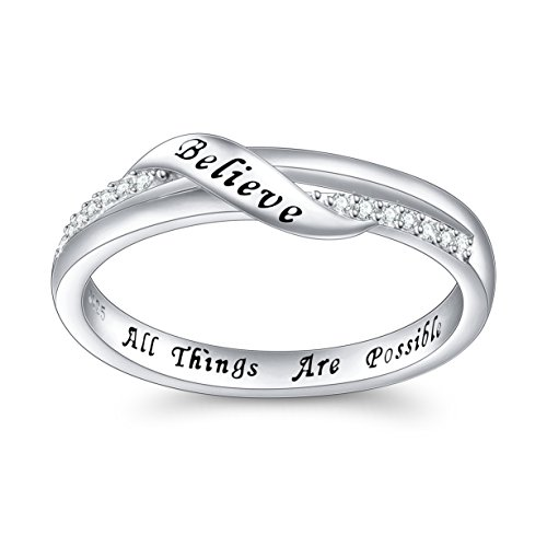 DAOCHONG Inspirational Jewelry Sterling Silver Engraved Believe All Things are Possible Band Ring for Women Girl, Size 6-8 (8)