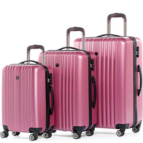FERGÉ Set di 3 valigie viaggio espandibile TOLOSA - bagaglio rigido dure + 5 cm 3 pezzi valigetta 4 ruote rosa