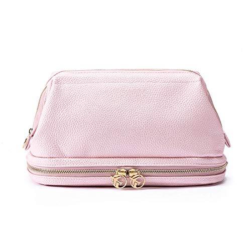 Kulturtasche aus Leder für Frauen & Mädchen, Groß Reise-Kulturtasche | Waschtasche | Beauty Case | Waschbeutel | Reise Toilettentasche (Pink)