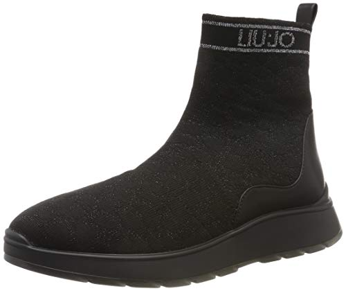 LIU JO SHOES Damen Asia 08 MID Sock Sneaker, Schwarz (Black 22222), 39 EU