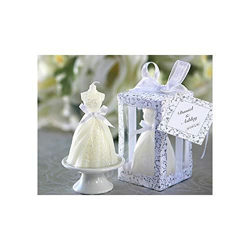 Lote de 30 Velas Vestido de Novia - Detalles Originales Invitados de Bodas, Regalos Comuniones y Recuerdos para Cumpleaños Infantiles