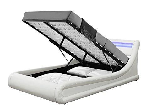 Unmatchable LED Designer Ottoman Bed Frame Schemes & Multiple Sizes (King Size 5FT, White)