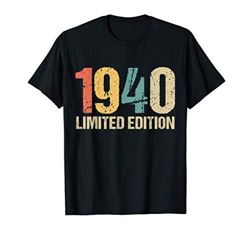 80 Años Cumpleaños Hombre Mujer Regalo Divertido 1940 Camiseta