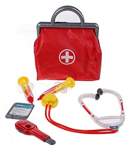 JohnToy 27576 Arzttasche mit Zubehören 6-teilig, Mehrfarbig