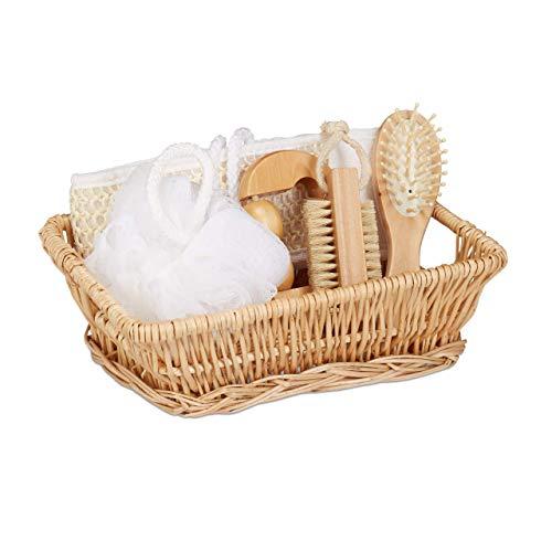 Relaxdays Wellness Set 6-TLG, Geschenkset mit Massagebürste, Rückenschrubber, Luffa, Massageroller, Nagelbürste, Natur