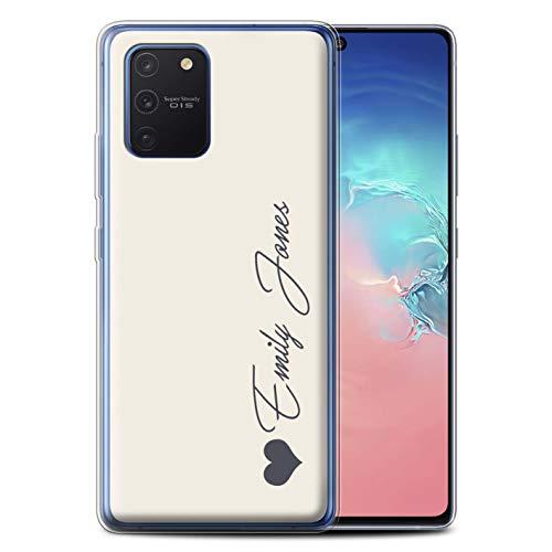 Stuff4 Personalisiert Persönlich Pastell Töne Gel/TPU Hülle für Samsung Galaxy S10 Lite 2020 / Elfenbein Herz Design/Initiale/Name/Text Schutzhülle/Hülle/Etui