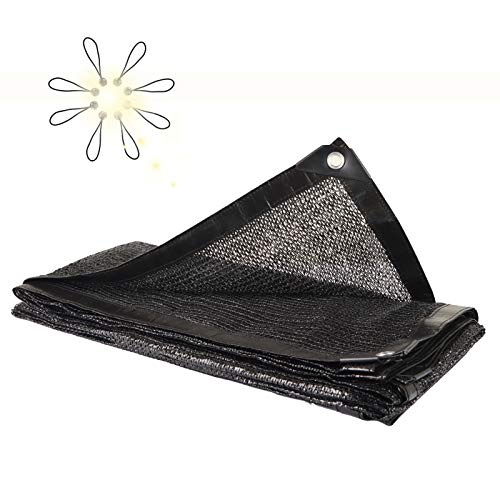 NUFR Shade Cloth 70% Sunblock for Plants Greenhouse Cover 6.5ft x 6.5ft Fabric Net Mesh Tarp Sunshade Sunscreen Netting with Grommets for Garden Patio Lawn Outdoor,8pcs Ball Bungees-Black