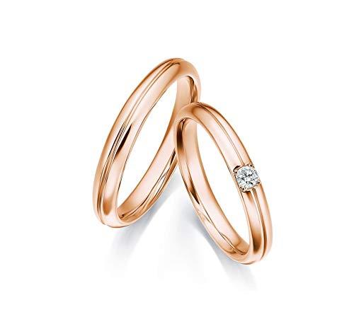 KnSam Mujer Hombre Unisex 18k oro rojo 18 quilates (750) redonda Diamond
