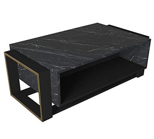 moebel17 5163 Bianco Couchtisch Sofatisch Wohnzimmertisch Tisch fürs Wohnzimmer, Holz, Braun Dunkelgrau Marmor Optik, Hochglanz, Ablagefächer, viel Stauraum, Designertisch, 107 x 41 x 60 cm
