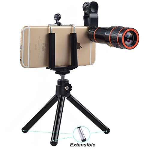 Zoom Lens,12X Telephoto Zoom Lens Kit,Optical Camera Telescope Zoom Lens Attachment + Universal Clip + Phone Holder + Tripod for iPhone 8,7, 6s, 6, 5s, Samsung Galaxy S8, S7, S7 Edge Most Smartphone