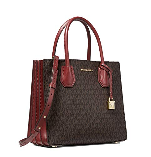 Michael Kors Mercer Logo Ladies Medium Wine Red PVC coated Canvas Tote Bag 30T9GM9T6B-626