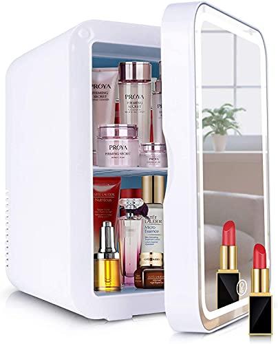 Kosmetik-Kühlschrank 2-in-1 Make-up-Spiegel Hautpflege-Kühlschrank 8 Liter Mini-Kühlschrank mit LED-Licht kompakter tragbarer Kühler für Schlafzimmer Büro Wohnheim Auto – ideal Hautpflege und Kosmetik