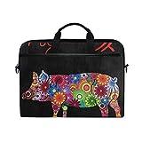 Laptop Sleeve Case, Chinese Zodiac Pig Mandala Flower 14-14.5 inch Briefcase Messenger Notebook Computer Bag with Shoulder Strap Handle