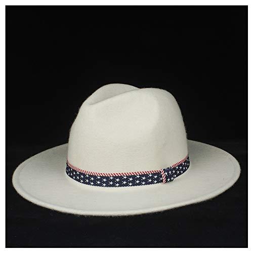 Xingyue Cowboy-hoed en cowboy-hoed, 100% echte wol voor vrouwen, witte Fedora-hoed, elegante retro-beschermhoed met veren, winterhoed, reistrozen, 56-58
