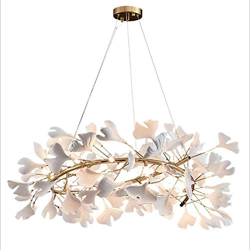 Lámpara de techo LED de cerámica con hojas de ginkgo, moderna y elegante para comedor, dormitorio (luz cálida)-Los 60 * 25cm