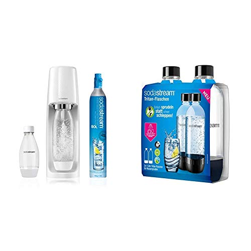 Sodastream Gasatore d'Acqua Spirit Mega PackWhite, 2 Bottiglie e 1 Cilindro Inclusi & 2 Bottiglie per gasatore d'acqua, Universali, Lavabili in Lavastoviglie