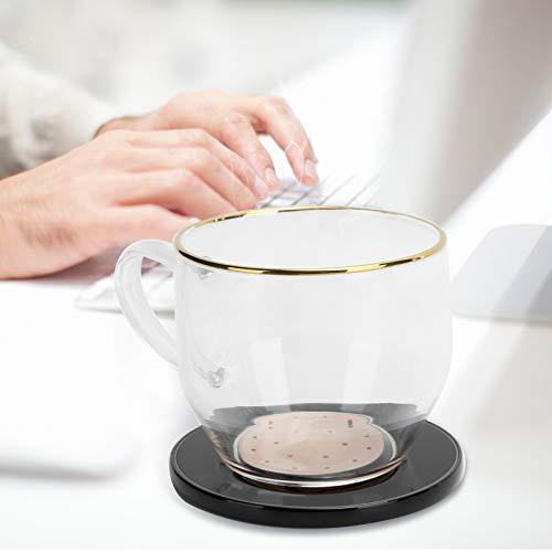 Calentador de tazas de café, taza de carga rápida, temperatura constante de 55 ° C con taza de 350 ml para carga estándar de 5 W para una carga rápida de 7,5 W