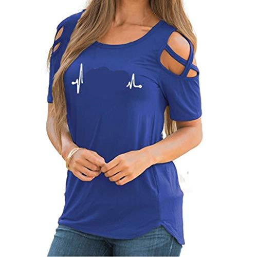 SLYZ Camiseta De Manga Corta con Hombros Descubiertos Y Cuello Redondo con Estampado En Forma De Corazón Y Cuello Redondo para Damas Europeas Y Americanas