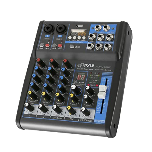Pyle Professional Audio Mixer Sound Board Console System Interface 4 Channel Digital USB Bluetooth MP3 Computer Input 48V Phantom Power Stereo DJ Studio Streaming FX 16-Bit DSP processor-PMXU43BT. Buy it now for 73.49