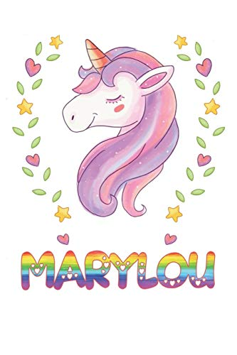 Marylou: Marylou Notebook Journal 6x9 Personalized Gift For Marylou Unicorn Rainbow Colors Lined Paper