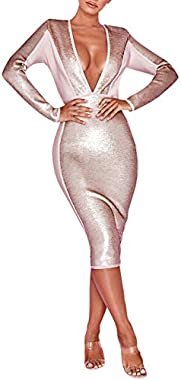 UONBOX Women's Long Sleeves Deep V Plunge Neck Sequin and Bandage Club Party Dress