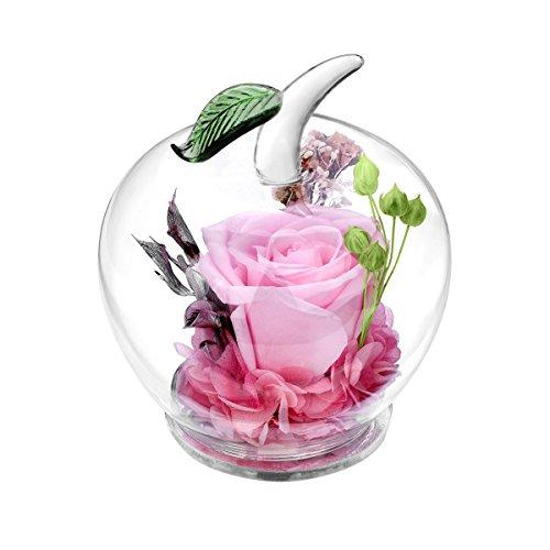 Rose préservée dans un verre en forme de pomme - Fait main - Superbe cadeau pour un être cher à Noël, la Saint-Valentin, la fête des mères, un anniversaire, un mariage rose