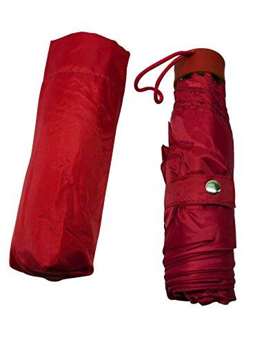 The Weather Station Flacher manueller Regenschirm aus Vinyl mit Standard-Abdeckung und Druckknopfverschluss, Farben können variieren, 1 Packung, rot (Rot) - PP-NEAL3754
