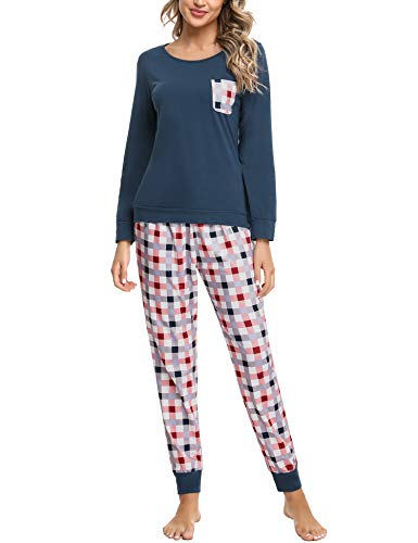 Pijamas Mujer Conjunto de Pijama a Cuadros para Dama Pjs Top Ropa de Dormir Camisa y Pantalones con Bolsillo Manga Larga Soft Lounge Sets Ropa de Cama Loungewear (B# Azul Marino, XL)