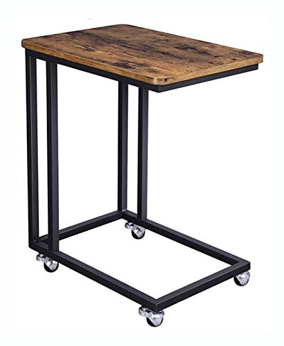 HomyDelight Modern in Rial Side Table Nightstand TV Tray on Wheels