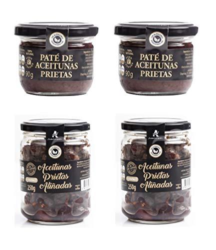 Aceitunas Prietas negras deshidratadas Kalamata española 100% + Pate de Aceitunas Prietas Tapenade Olivada (PACK 4)