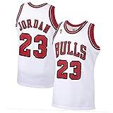 CLKJ Bulls # 23 Michael Jordan Championship Logo Jersey, Camiseta cómoda Transpirable para Hombre Camiseta de la Competencia Chaleco White-M