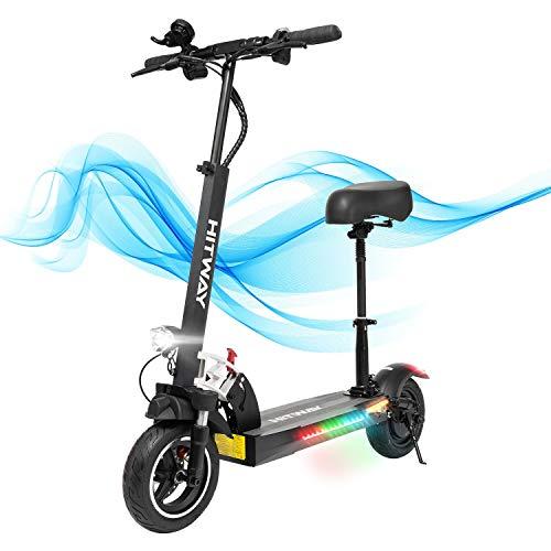 HITWAY Scooter Elettrico, E Scooter, 800W, 45 km/h, 40 km, Scooter Elettrico Pieghevole con Schermo LCD Batteria agli ioni di Litio da 10 Ah, per Adolescenti e Adulti(Nero02)