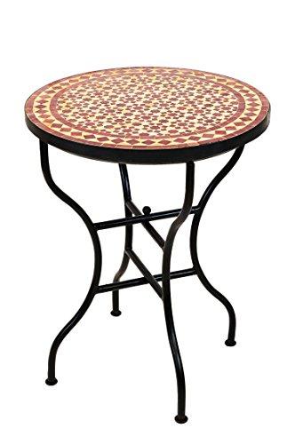 ORIGINAL Marokkanischer Mosaiktisch Bistrotisch ø 60cm Groß rund klappbar | Runder Kleiner Mosaik Gartentisch Mediterran | als Klapptisch für Balkon oder Garten | Albaicin Beige Bordeaux 60cm