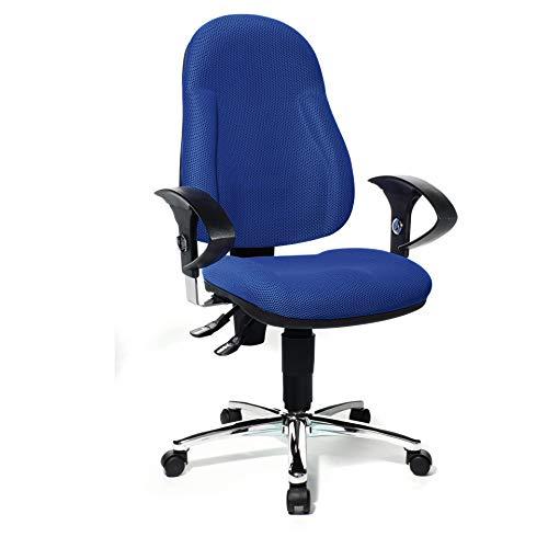 Topstar Wellpoint 10 Deluxe, ergonomischer Bürostuhl, Schreibtischstuhl, Muldensitz, inkl. höhenverstellbare Armlehnen, Stoffbezug blau
