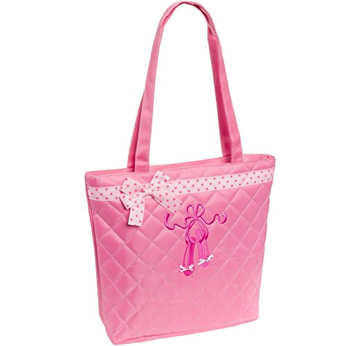 Lil Princess Quilted Dance Ballet Slippers Tote Bag, Light Pink