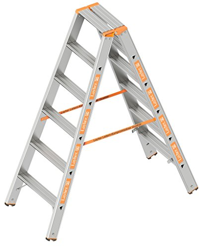 Layher 1043006 Stufenstehleiter Topic 6 Aluminiumleiter 2x6 Stufen 80 mm breit, beidseitig begehbar, klappbar, Länge 1.50 m