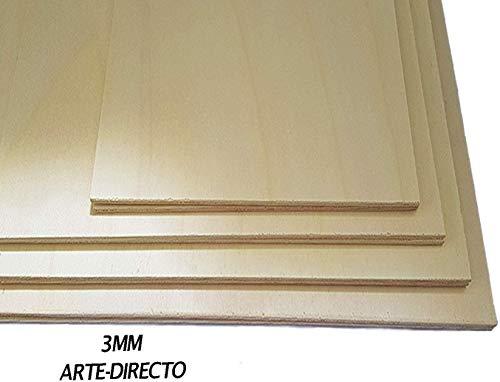 Tablero Contrachapado |Madera Maciza Abedul para Bricolaje, Manualidades | Ideal para Pirograbado, Corte por Laser, CNC Router, Modelado, Calado (A3, 15 UNIDADES)