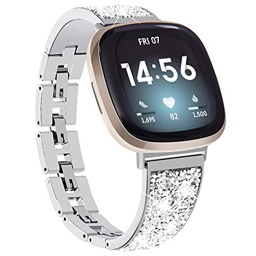 KADES kompatibel für Fitbit Versa 3 Armband, Damen Funkelndes Armband kompatibel für Fitbit Versa Sense Armband, Edelstahlarmband kompatibel für Fitbit Versa 3 Uhr (Silber)