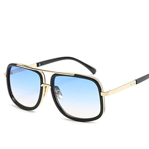 IslandseUnisex Square Vintage Mirrored Sunglasses Eyewear Sports Glasse (C)