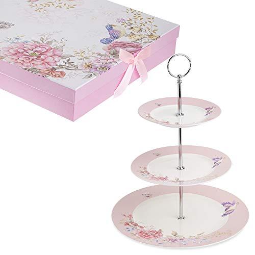 London Boutique Soporte para Tarta de 2 Niveles con diseño de Mariposas en Caja de Regalo, Color Rosa