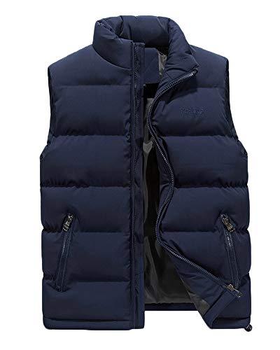Hombre Invierno Calor Chalecos Sin Mangas De Plumas Chaquetas Acolchado Cazadoras Azul 4XL