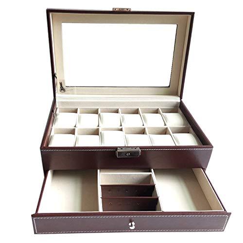 Feibrand Aufbewahrungsbox für 12 Uhren Armbänder und Manschettenknöpfe