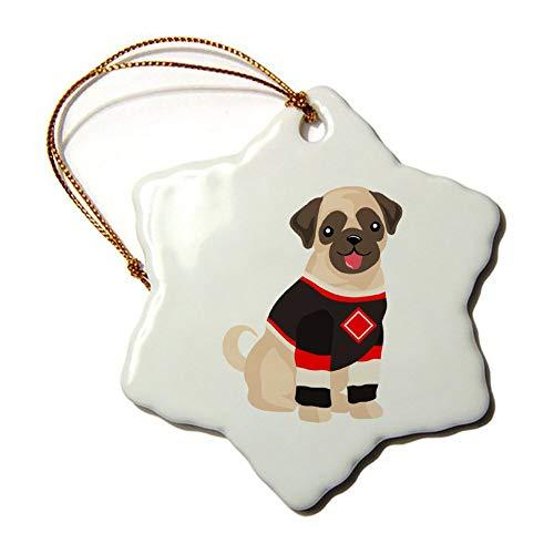 Weihnachtsschmuck, Weihnachtsbaumschmuck, Mops im Hockey-Jersey, beidseitig, Stern, Keramik