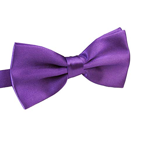 AWAYTR Men's Pre Tied Bow Ties for Wedding Party Fancy Plain Adjustable Bowties Necktie (Purple)