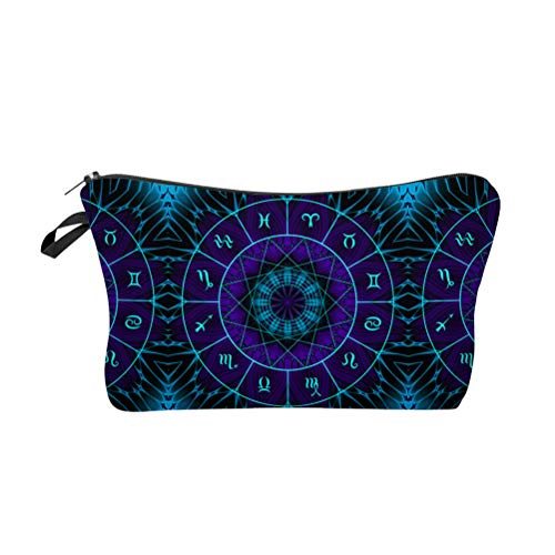Lurrose Trousse de maquillage Constellation Clock Sac à cosmétiques imprimé Petite pochette de rangement étanche pour produits de toilette Mandala avec fermeture à glissière (bleu)