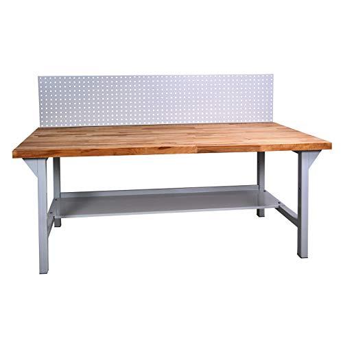 ADB Werkbank, Werktisch, Arbeitstisch mit Buchenplatte + Lochwand 2000x750x850 mm, Werkstatteinrichtung, Zubehör, Werkstatt, ohne Rollen