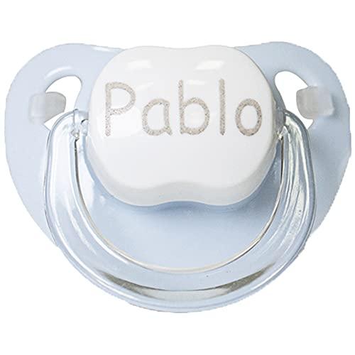 BebeDeParis | Regalos Originales para Bebés Recién Nacidos | Chupete Personalizado con Nombre (Azul)