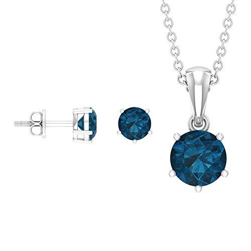 Rosec Jewels 10 quilates oro blanco redonda Blue Topacio azul - Londres