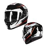 HSKS Weißer schwarzer roter doppelter Linsensturzhelm der Graffiti, Gesichtsvollsturzhelm Bluetooth-Motorradsturzhelmfrau der Reitensommermänner-M